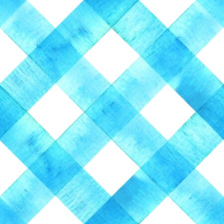 Watercolor diagonal stripe plaid seamless texture. Teal blue stripes on white background. Watercolour hand drawn striped pattern. Print for cloth design, textile, fabric, wallpaper, wrapping, tile. Фото со стока
