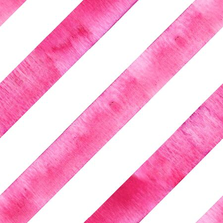 Watercolor pink diagonal stripes on white background. Striped seamless pattern. Watercolour hand drawn stripe texture. Print for cloth design, textile, fabric, wallpaper, wrapping.