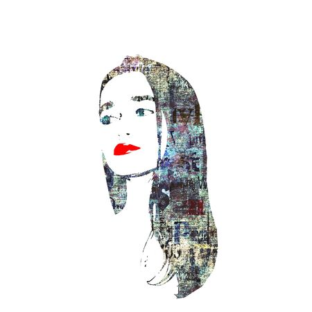 Contemporary fashion woman portrait. Beautiful female face with long hair, red lips, newspaper texture isolated on white. Newspapers art print grunge collage. Pop art style. Cosmetology concept. Фото со стока