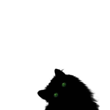 Black cat with green eyes isolated on white square background with copyspace. Halloween holiday, horror concept. Greeting card, invitations, poster, banner, flyer template.