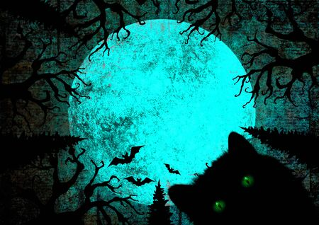Halloween holiday blue teal black grunge background with black cat with green eyes, full moon, silhouettes of bats and terrible dead trees on dark night sky. Halloween, horror concept. Space for text.