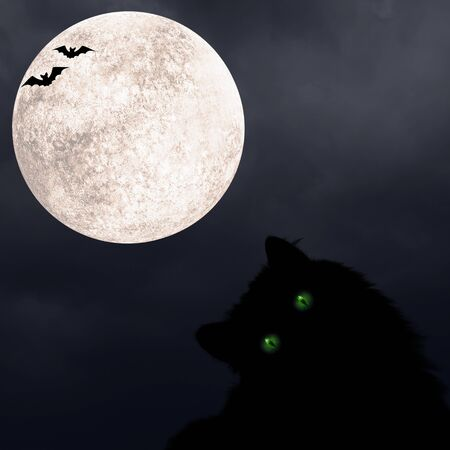 Halloween square background with black cat with green eyes, silhouettes of bats and full moon on dark spooky night cloudy sky. Halloween, horror and decoration concept. Space for text.