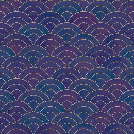 Abstract mermaid fish scale wave japanese seamless pattern. Watercolor hand drawn dark colorful background with gold contour. Watercolour scales shape texture. Print for textile, wallpaper, wrapping