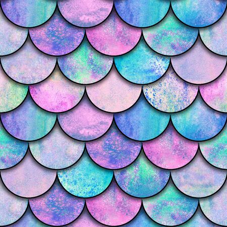 Mermaid fish scale wave japanese magic seamless pattern. Watercolor hand drawn blue pink color background. Watercolour scales shaped texture. Paper cut style, 3d effect. Print for textile, wallpaper.