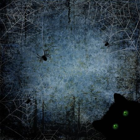 Halloween blue navy gray grunge background with black cat with green eyes, silhouettes of spiders, spider webs on dark spooky night sky. Halloween, horror concept. Space for text. Фото со стока