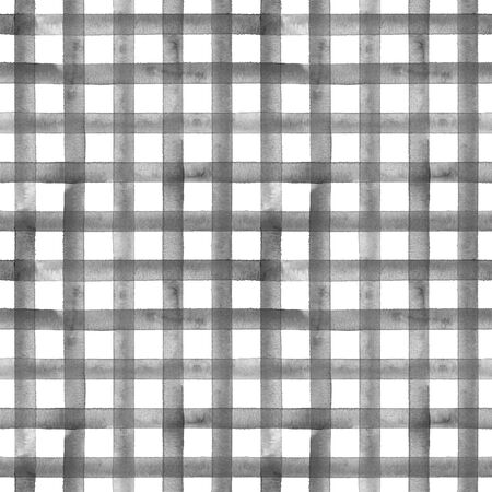 Watercolor stripe plaid seamless pattern. Black gray stripes on white background. Watercolour hand drawn striped texture. Print for cloth design, textile, fabric, wallpaper, wrapping, tile.