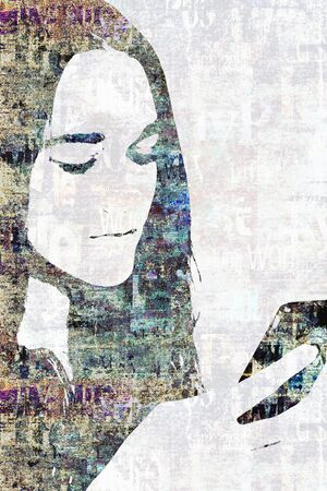 Contemporary fashion woman portrait. Beautiful female face with long hair with a smartphone in hand and newspaper texture. Newspapers art print grunge collage. Pop art style. Фото со стока