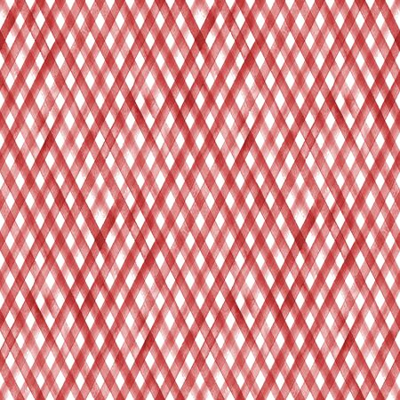 Watercolor stripe plaid seamless pattern. Red colored stripes background. Watercolour hand drawn diagonal striped texture. Print for cloth design, textile, fabric, wallpaper, wrapping, tile. Фото со стока