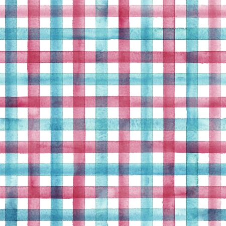 Watercolor stripe plaid seamless pattern. Colorful teal red stripes on white background. Watercolour hand drawn striped texture. Print for cloth design, textile, fabric, wallpaper, wrapping, tile.