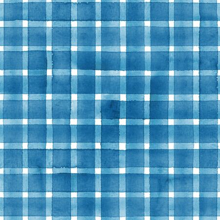 Watercolor stripe plaid seamless pattern. Blue stripes on white background. Watercolour hand drawn striped texture. Print for cloth design, textile, fabric, wallpaper, wrapping, tile. Фото со стока