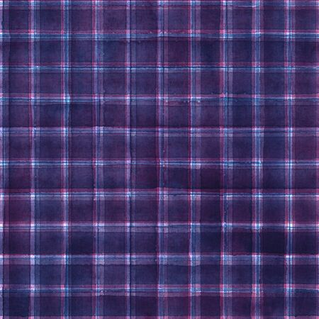 Watercolor stripe plaid seamless pattern. Colorful purple pink stripes background. Watercolour hand drawn striped texture. Print for cloth design, textile, fabric, wallpaper, wrapping, tile.