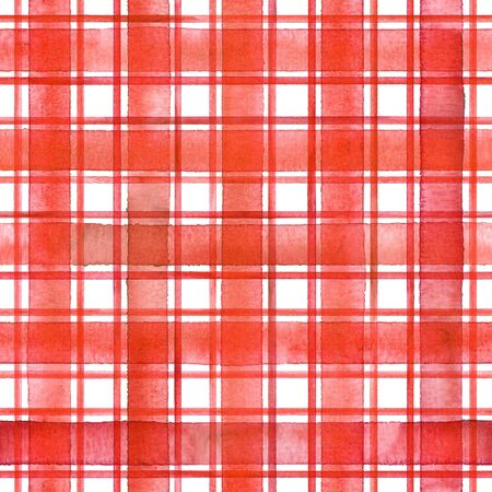 Watercolor stripe plaid seamless pattern. Red stripes on white background. Watercolour hand drawn striped texture. Print for cloth design, textile, fabric, wallpaper, wrapping, tile.
