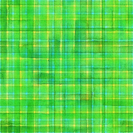 Watercolor stripe plaid seamless pattern. Colorful yellow, teal and green stripes background. Watercolour hand drawn striped texture. Print for cloth design, textile, fabric, wallpaper, wrapping, tile. Фото со стока