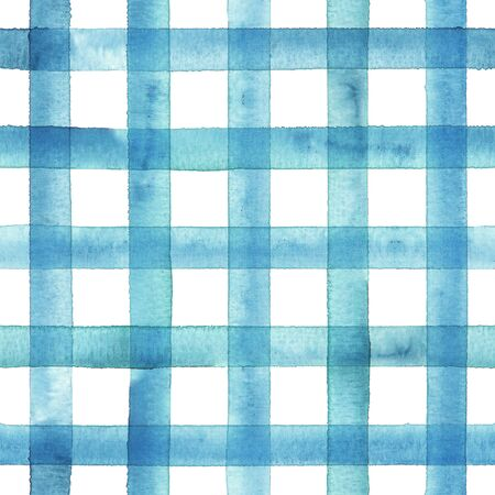 Watercolor stripe plaid seamless pattern. Teal blue stripes on white background. Watercolour hand drawn striped texture. Print for cloth design, textile, fabric, wallpaper, wrapping, tile.