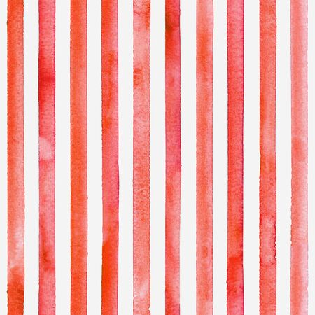 Watercolor stripe seamless pattern. Red colored stripes on white background. Watercolour hand drawn striped texture. Print for cloth design, textile, fabric, wallpaper, wrapping, tile.