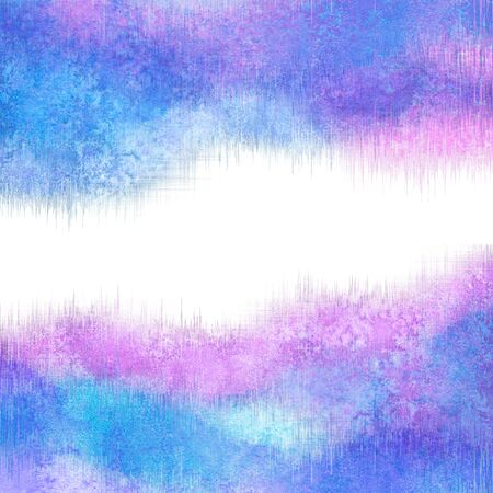 Abstract winter watercolor creative colorful pink blue teal purple background with white space for text. Watercolour hand painted waves illustration. Banner frame, card, cover design.