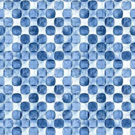 Indigo blue navy seamless geometric pattern with grunge polka dot monochrome watercolor abstract overlapping shapes checkered background. Watercolour hand drawn texture. Print for textile, wallpaper