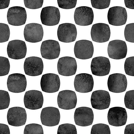 Seamless geometric pattern with grunge watercolor abstract black circle shapes on white background. Watercolour hand drawn polka dot monochrome texture. Print for textile, wallpaper, wrapping.