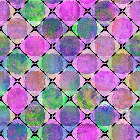 Seamless geometric pattern with colorful watercolor abstract overlapping shapes checkered background. Watercolour hand drawn bright neon check texture. Print for textile, wallpaper, wrapping. Фото со стока