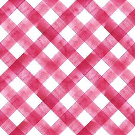 Watercolor diagonal stripe plaid seamless texture. Pink red stripes on white background. Watercolour hand drawn striped pattern. Print for cloth design, textile, fabric, wallpaper, wrapping, tile.