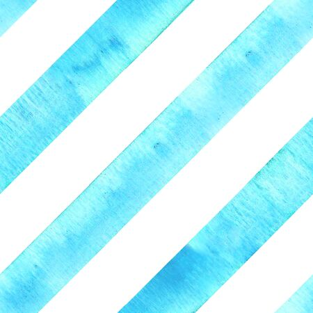 Watercolor teal blue turquoise diagonal stripes on white background. Striped seamless pattern. Watercolour hand drawn stripe texture. Print for cloth design, textile, fabric, wallpaper, wrapping, tile