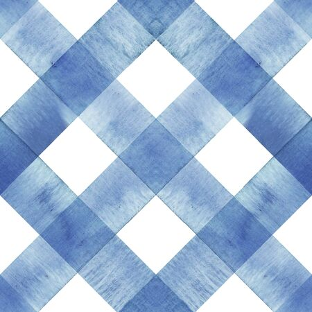 Watercolor diagonal stripe plaid seamless texture. Indigo blue stripes on white background. Watercolour hand drawn striped pattern. Print for cloth design, textile, fabric, wallpaper, wrapping, tile. Фото со стока