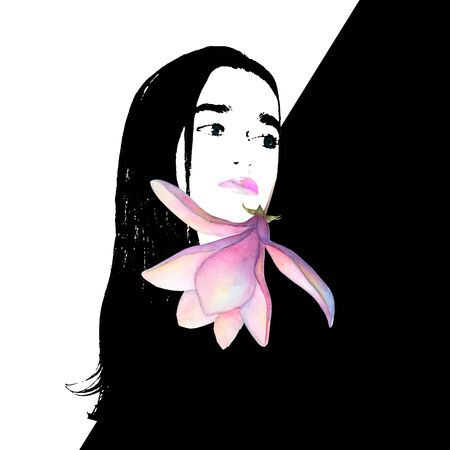 Contemporary art fashion woman portrait. Beautiful female face with pink lips and magnolia flower on black and white background. Artwork modern collage. Beauty, Spa, Skin Care and Cosmetology concept. Фото со стока