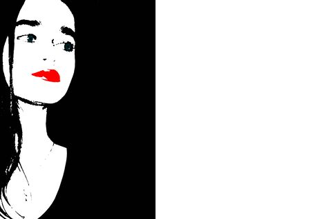 Contemporary art fashion woman portrait. Beautiful female face with red lips on black and white background. Artwork modern collage. Beauty, Spa, Skin Care and Cosmetology concept. Фото со стока