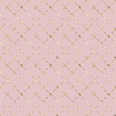 Stripe grunge glittering plaid pastel pink seamless pattern with gold glitter line contour. Striped background. Abstract geometric diagonal overlapping stripes illustration texture. Stock Photo