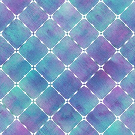 Watercolor abstract geometric stripe plaid seamless pattern with white decoration contour. Watercolour hand drawn bright colorful striped texture background. Print for textile, wallpaper, wrapping. Фото со стока