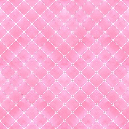 Watercolor abstract geometric stripe plaid seamless pattern with white decoration contour. Watercolour hand drawn pink color striped texture background. Print for textile, wallpaper, wrapping.