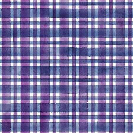 Watercolor stripe plaid seamless pattern. Colorful purple pink stripes on white background. Watercolour hand drawn striped texture. Print for cloth design, textile, fabric, wallpaper, wrapping, tile. Фото со стока