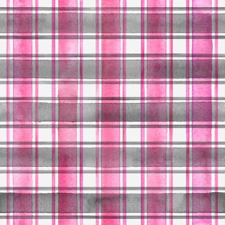 Watercolor stripe plaid seamless pattern. Colorful gray pink stripes on white background. Watercolour hand drawn striped texture. Print for cloth design, textile, fabric, wallpaper, wrapping, tile.