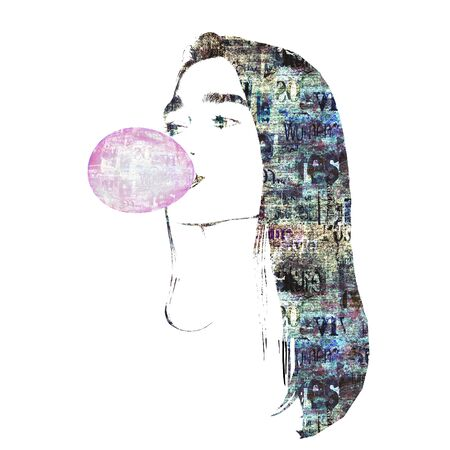 Contemporary fashion art background. Face of a girl blowing a pink bubble of chewing gum on newspaper texture. Newspapers art print. Artwork modern grunge collage. Space for text. Фото со стока