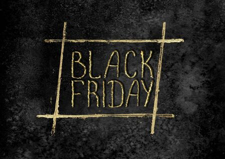 Black Friday sale glitter background. Gold shiny glittering hand drawn lettering on black watercolor texture. Watercolour horizontal illustration. Sale logo template for banner, poster, web, flyer.