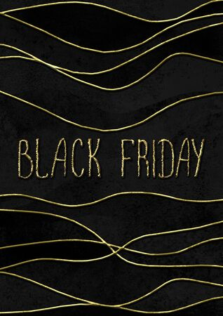 Black Friday sale glitter background. Gold shiny glittering hand drawn lettering on black watercolor texture. Watercolour vertical illustration. Sale logo template for banner, poster, web, flyer, card Фото со стока