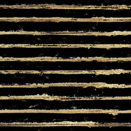 Gold gliterring shining stripe grunge seamless pattern. Golden stripes on black background. Hand drawn striped texture. Print for textile, fabric, wallpaper paper, wrapping, tile.