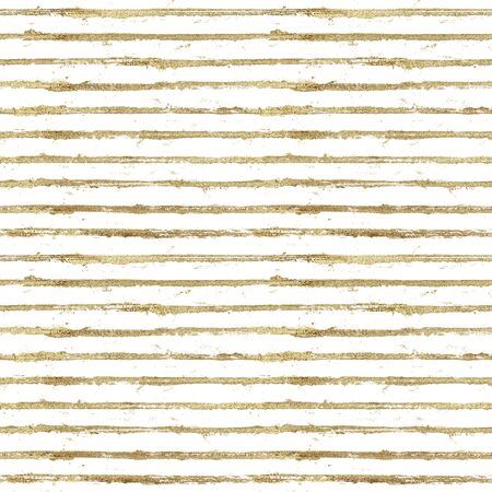 Gold gliterring shining stripe grunge seamless pattern. Golden stripes on white background. Hand drawn striped texture. Print for textile, fabric, wallpaper paper, wrapping, tile. Фото со стока