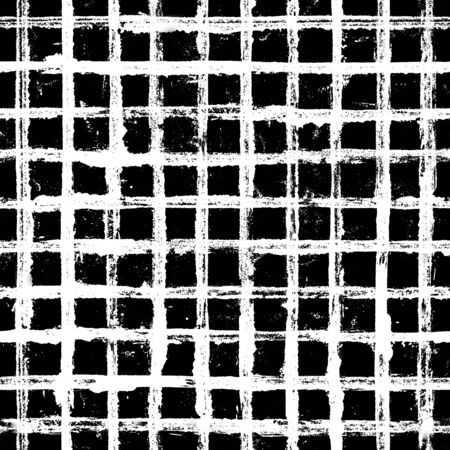 Black and white stripe plaid grunge seamless pattern. White stripes on black background. Hand drawn striped texture. Print for textile, fabric, wallpaper paper, wrapping, tile. Фото со стока