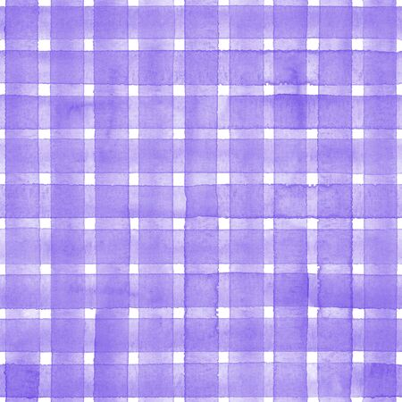 Watercolor stripe plaid seamless pattern. Purple stripes on white background. Watercolour hand drawn striped texture. Print for cloth design, textile, fabric, wallpaper, wrapping, tile.