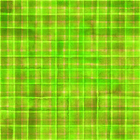 Watercolor stripe plaid seamless pattern. Colorful green stripes background. Watercolour hand drawn striped texture. Print for cloth design, textile, fabric, wallpaper, wrapping, tile.