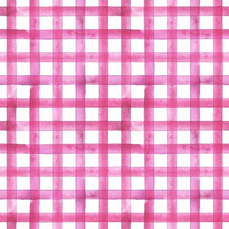 Watercolor stripe plaid seamless pattern. Pink stripes on white background. Watercolour hand drawn striped texture. Print for cloth design, textile, fabric, wallpaper, wrapping, tile. Фото со стока