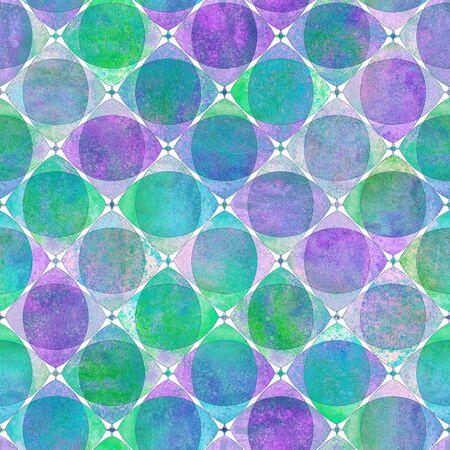 Motivo geometrico senza soluzione di continuità con sfondo a scacchi di forme sovrapposte astratte colorate ad acquerello. Struttura dell'assegno al neon luminoso disegnato a mano dell'acquerello. Stampa per tessuti, carta da parati, carta da imballaggio.