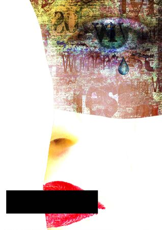 Mixed media. Contemporary art portrait of abused, banned to speak and express opinion, beautiful, crying young woman with green eyes. Psychological violence, abuse in the family. Copy space.