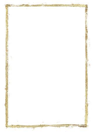 Cornice dorata di linee del grunge. Bordo di strisce disegnate a mano scintillante lucido oro su sfondo bianco. Illustrazione di pittura a mano. Spazio per testo, immagine. Archivio Fotografico