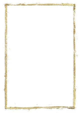 Golden grunge lines frame. Gold shiny glittering hand drawn stripes border on white background. Hand paint illustration. Space for text, image. Imagens