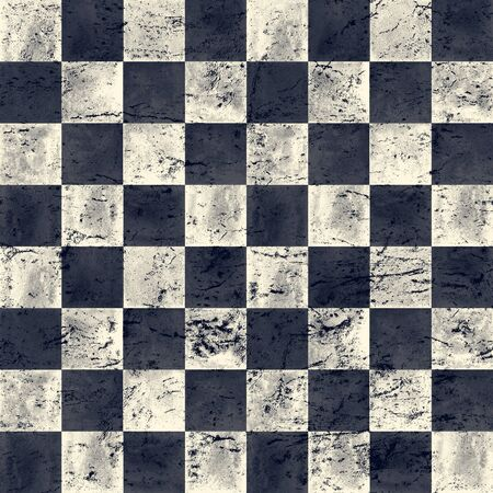 Black blue navy and beige checkered vintage grunge plaid seamless texture. Watercolor hand drawn pattern. Watercolour chess background. Print for cloth design, textile, wallpaper, wrapping, tile.
