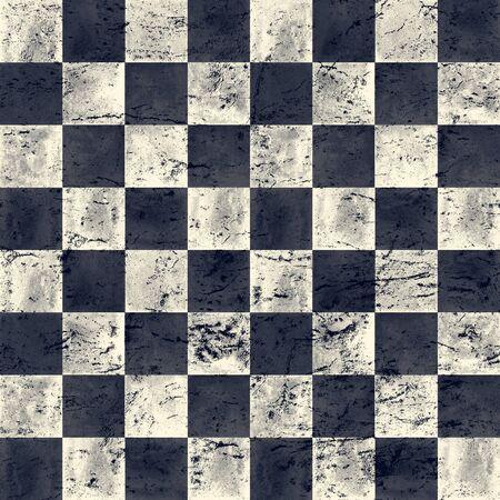 Schwarze blaue Marine und beige karierte Vintage Grunge karierte nahtlose Textur. Aquarell handgezeichnetes Muster. Aquarell Schach Hintergrund. Drucken Sie für Stoffdesign, Textilien, Tapeten, Verpackungen, Fliesen.