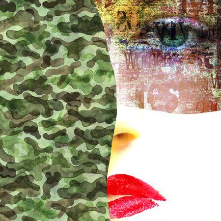 Tecnica mista. Ritratto di donna di moda contemporanea. Bel viso femminile con occhi verdi e labbra rosse su giornale e trama militare mimetica. Collage di arte in stile grunge. Donna soldato, ragazza dell'esercito.