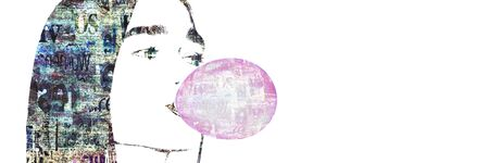Contemporary fashion art background. Face of a girl blowing a pink bubble of chewing gum with newspaper texture. Newspapers art print. Artwork modern grunge collage. Space for text.